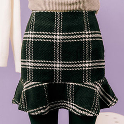 chuu - Ruffle-Hem Plaid Wool Blend Mini Skirt