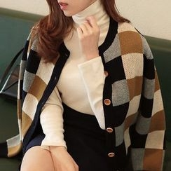 Seoul Fashion - Wool-Blend Color-Block Check Cardigan