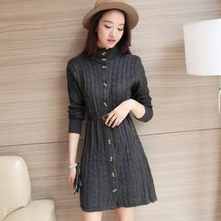 lilygirl - Button Down High-Neck Cable-Knit Dress
