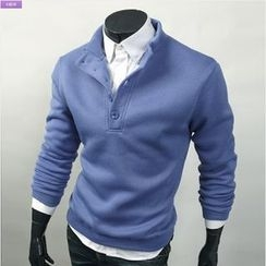 WIZIKOREA - Mock-Neck Fleece-Lined T-Shirt