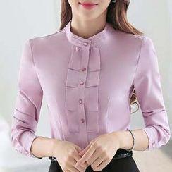 Eferu - Stand Collar Chiffon Shirt
