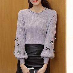 lilygirl - Embellished Lantern Sleeve Sweater