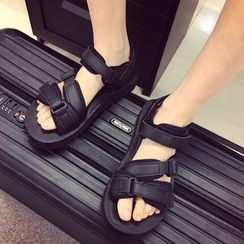 JUN.LEE - Velcro Strap Couple Matching Platform Sandals