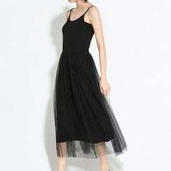Myrtle - Tulle Panel Midi Slipdress