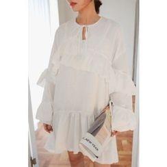 PPGIRL - Ruffled Dip-Back Dress