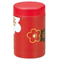 Hakoya - Hakoya Stainless Food Pot Hanamonyou Ume Red