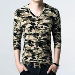 JEUX - Camouflage V-neck Long-Sleeve T-shirt
