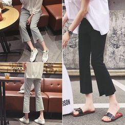 QZ Lady - Asymmetric Hem Bell Bottom Cropped Pants