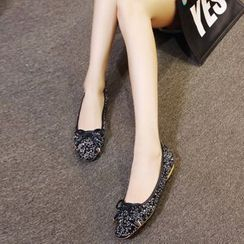 CITTA - Bow Sequined Flats