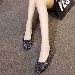 傾城 - 蝴蝶結亮片平跟鞋