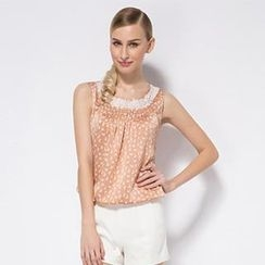 O.SA - Lace-Trim Printed Sleeveless Top