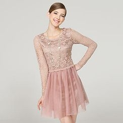 O.SA - Long-Sleeve Crochet-Panel Dress
