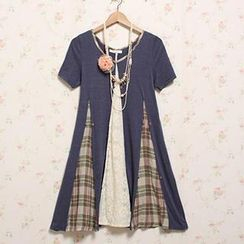 Blue Hat - Short-Sleeve Plaid Lace Panel Dress