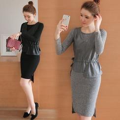 Eighoo - Set: Long Sleeve Knit Dress + Faux Leather Peplum Vest