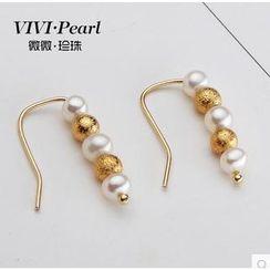 微微珍珠 - 14K 鍍金淡水珍珠耳環