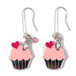 Sweet & Co. - Sweet&Co Mini Silver Pink Cupcake Crystal Earrings
