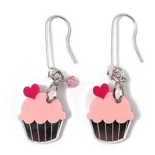 Sweet & Co. - Sweet&Co Mini Silver Pink Cupcake Crystal Earrings