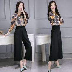 Rosehedge - Set: Cat Print Shirt + Wide Leg Pants