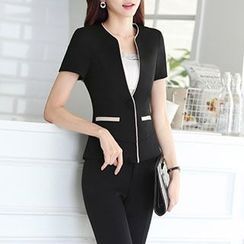 Caroe - Set: Short-Sleeve Single Button Blazer + Dress Pants