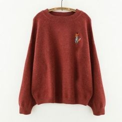 Meimei - Embroidered Fox Knit Top
