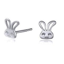 MBLife.com - Left Right Accessory - 18K White Gold Lovely Rabbit Bunny Stud Earrings, Women Girl Jewellery in Gift Box