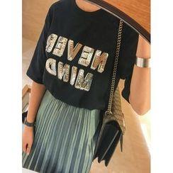 STYLEBYYAM - Sequined-Lettering Round-Neck T-Shirt