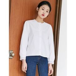 FROMBEGINNING - Round-Neck Lace-Trim Blouse