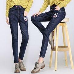 Denimot - 貼布直筒牛仔褲