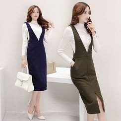 AiSun - Set: Long Sleeve Knit Top + Midi Pinafore Dress