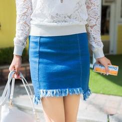 AiLiTi - 散邊牛仔裙