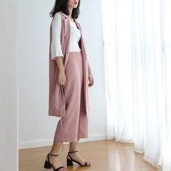 TAILO - Set: Notched-Lapel Long Vest + Wide-Leg Pants