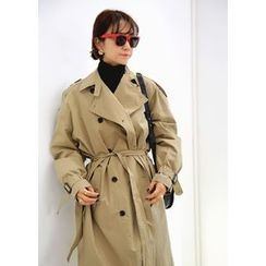 ssongbyssong - Double-Breasted Trench Coat With Sash