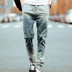 Weroni - 抽绳做旧水洗牛仔裤