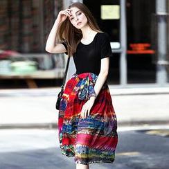 洛图 - 短袖真丝拼接连衣裙