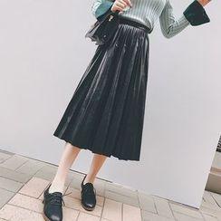 Bloombloom - Pleated Midi Faux Leather Skirt