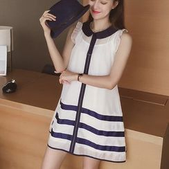 Cocofield - Set: Lace Trim Stripe Sleeveless Dress + Slipdress