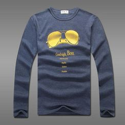 MR.PARK - Glasses-Print Long-Sleeve T-Shirt