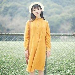 tete - Long-Sleeve Pintuck Frilled Dress