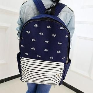 Miss Sweety - Bike-Print Striped Canvas Backpack