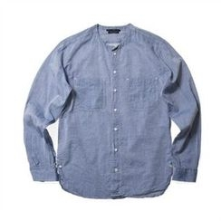THE COVER - Mandarin-Collar Linen Blend Shirt