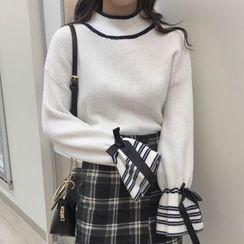 Cloud Nine - Striped Bell-Sleeve Mock Neck Sweater