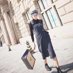 KCSTUDIO - Single-Button Denim Jumper Skirt