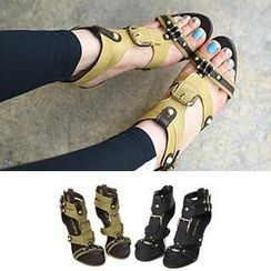 REDOPIN - Faux-Leather Buckled Sandals