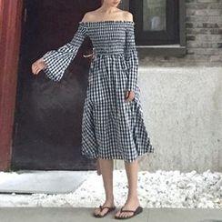 Cloud Nine - Off-shoulder Gingham Long-Sleeve Dress