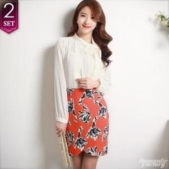 Romantic Factory - Set: Tie-Neckline Chiffon Top + Floral Patterned Tulip-Hem Skirt