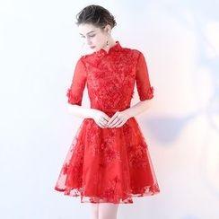 靜世奇緣 - 蕾絲中袖禮服裙