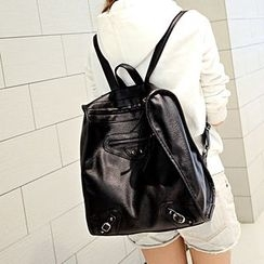 Seok - Faux Leather Backpack