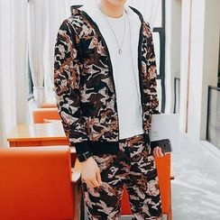 Danjieshi - Set : Camouflage Fleece-lined Jacket + Sweatpants