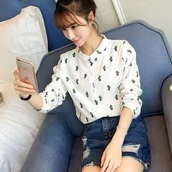 Colorful Shop - Long-Sleeve Cacti Print Blouse