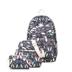 VIVA - Set of 3: Fish Print Backpack + Crossbody Bag + Pouch
